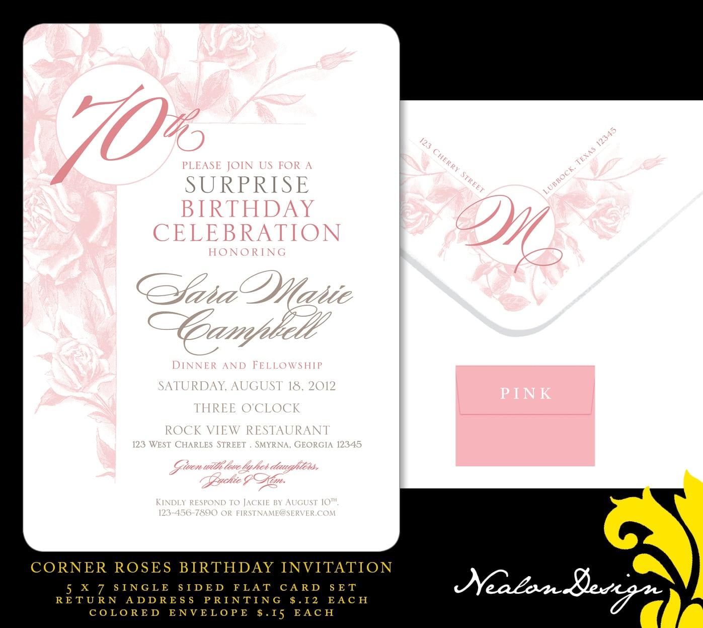 Nealon Design  Corner Roses 70th Birthday Invitation