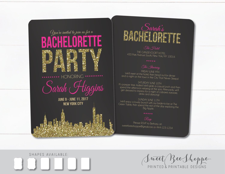 New York City Bachelorette Invite Nyc Bachelorette Party