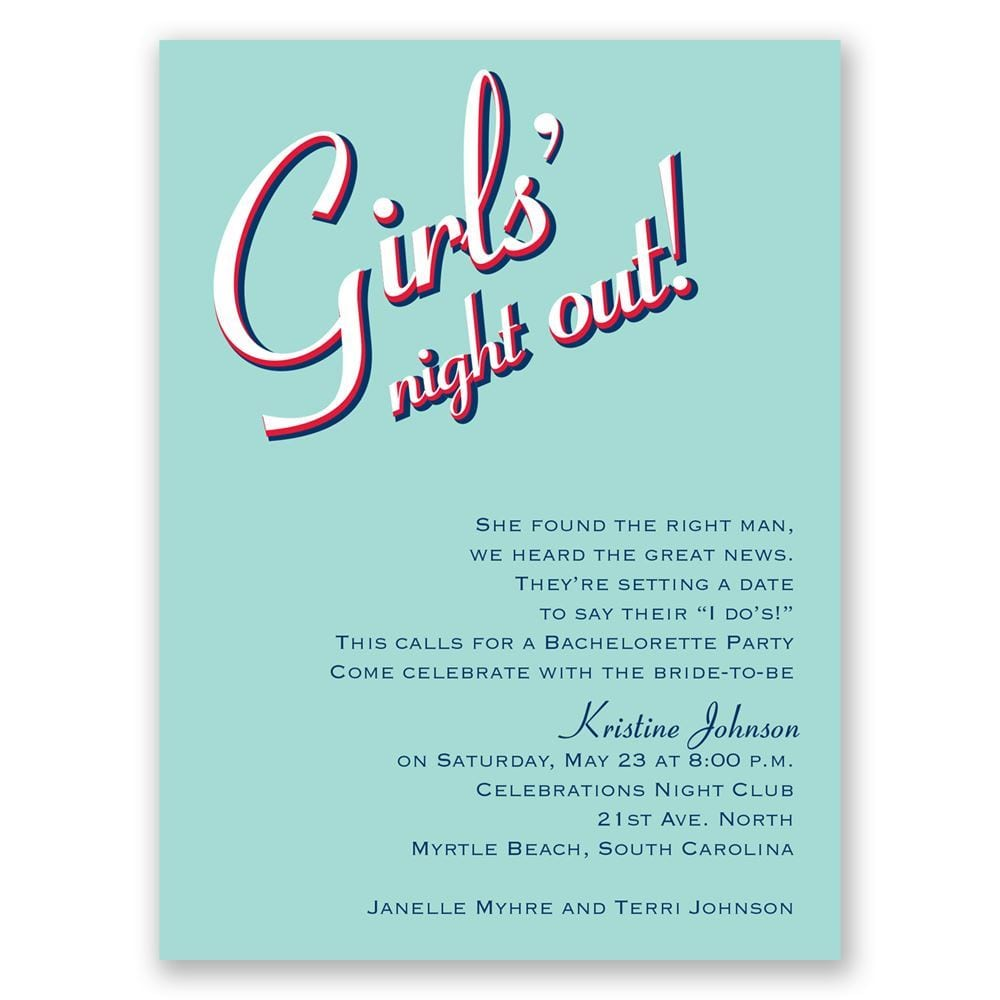Night Out Bachelorette Party Invitation