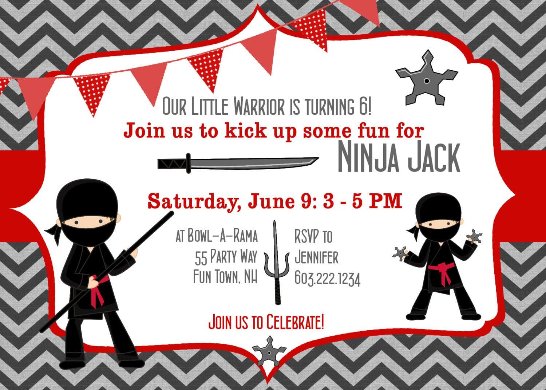Ninja Party Invitations