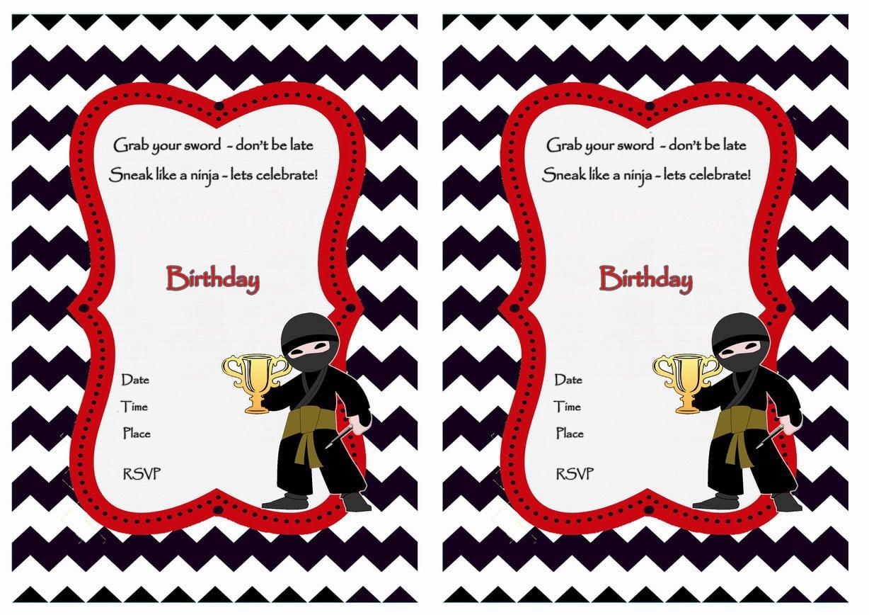 Ninja Warriors Birthday Invitations – Birthday Printable