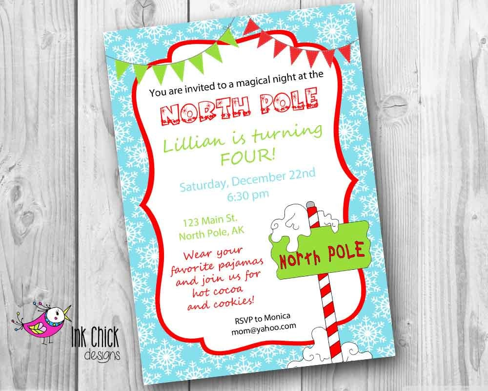 North Pole Birthday Party Invitation North Pole Party
