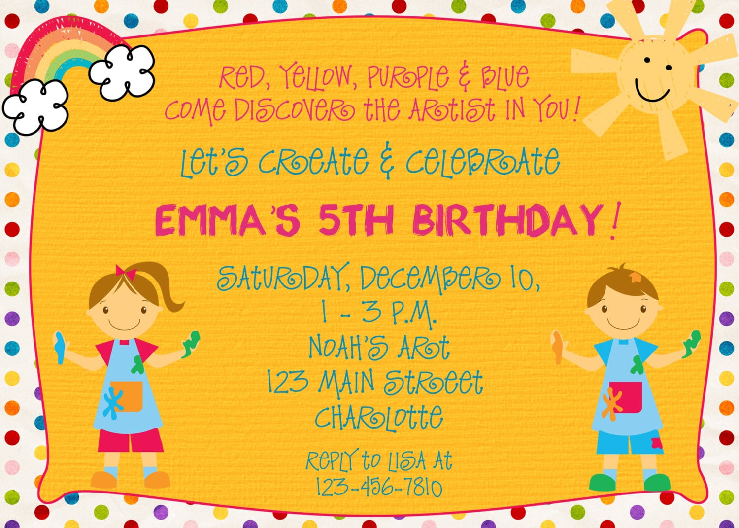 Paint Party Birthday Invitation Art Party Arts And Crafts