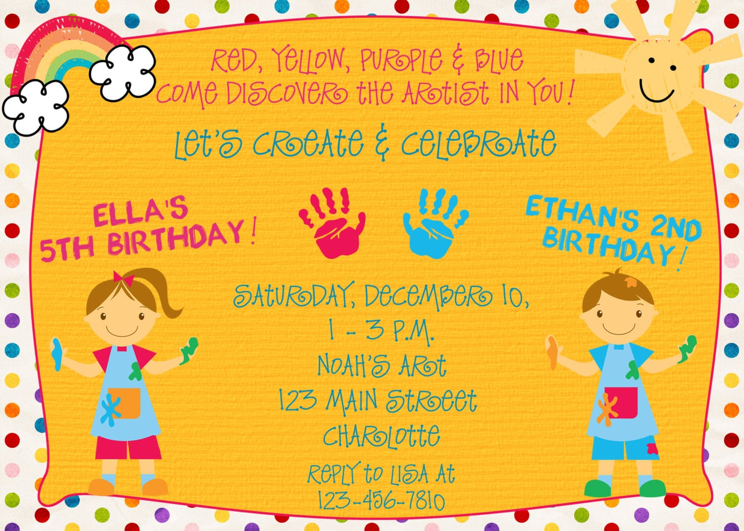 Paint Party Birthday Invitation Sibling Birthday Arts And