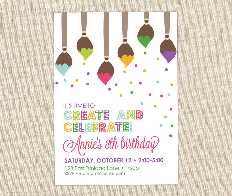Paint Party Invitation  Art Birthday Party Invitation  Art