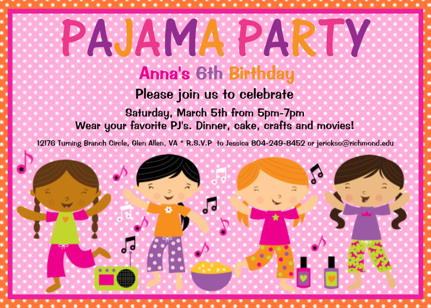 Pajama Party Sleepover Invitation Ecard Designed By Onewhimsychick