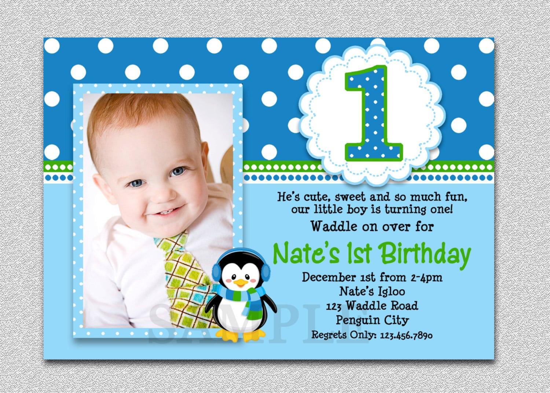 Penguin Birthday Invitation Penguin 1st Birthday Party Invites