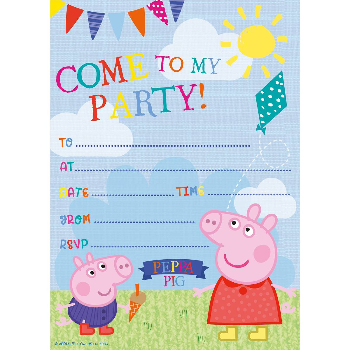 Peppa Pig Party Invitations 20 Pack