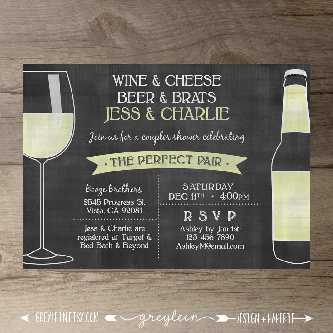 Perfect Pair Invitations Chalkboard Invites By Greylein On Etsy