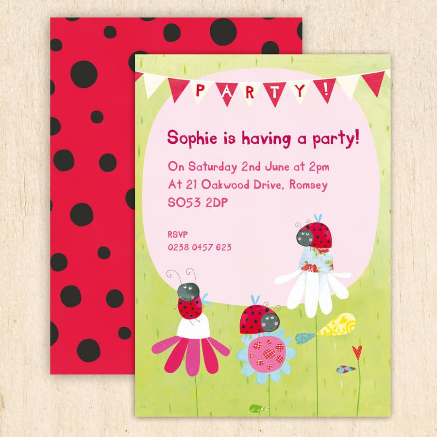Personalised Ladybird Party Invitations By Made By Ellis