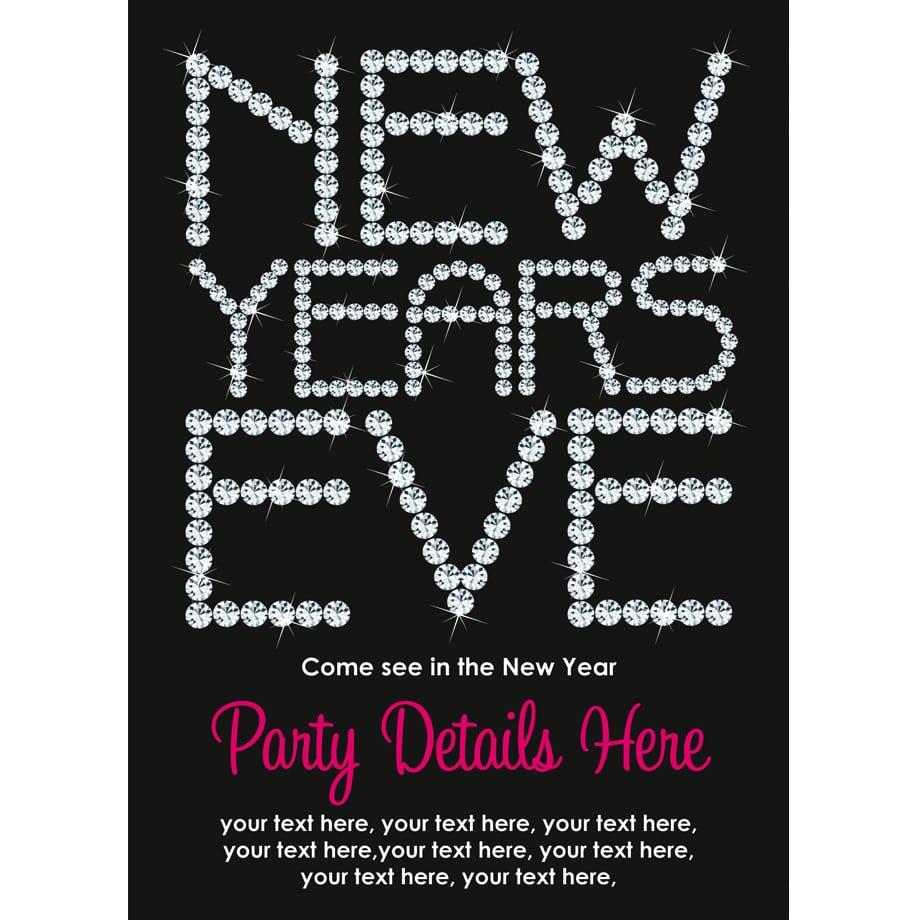 Personalised New Years Eve 2014 Invitations Diamante Design
