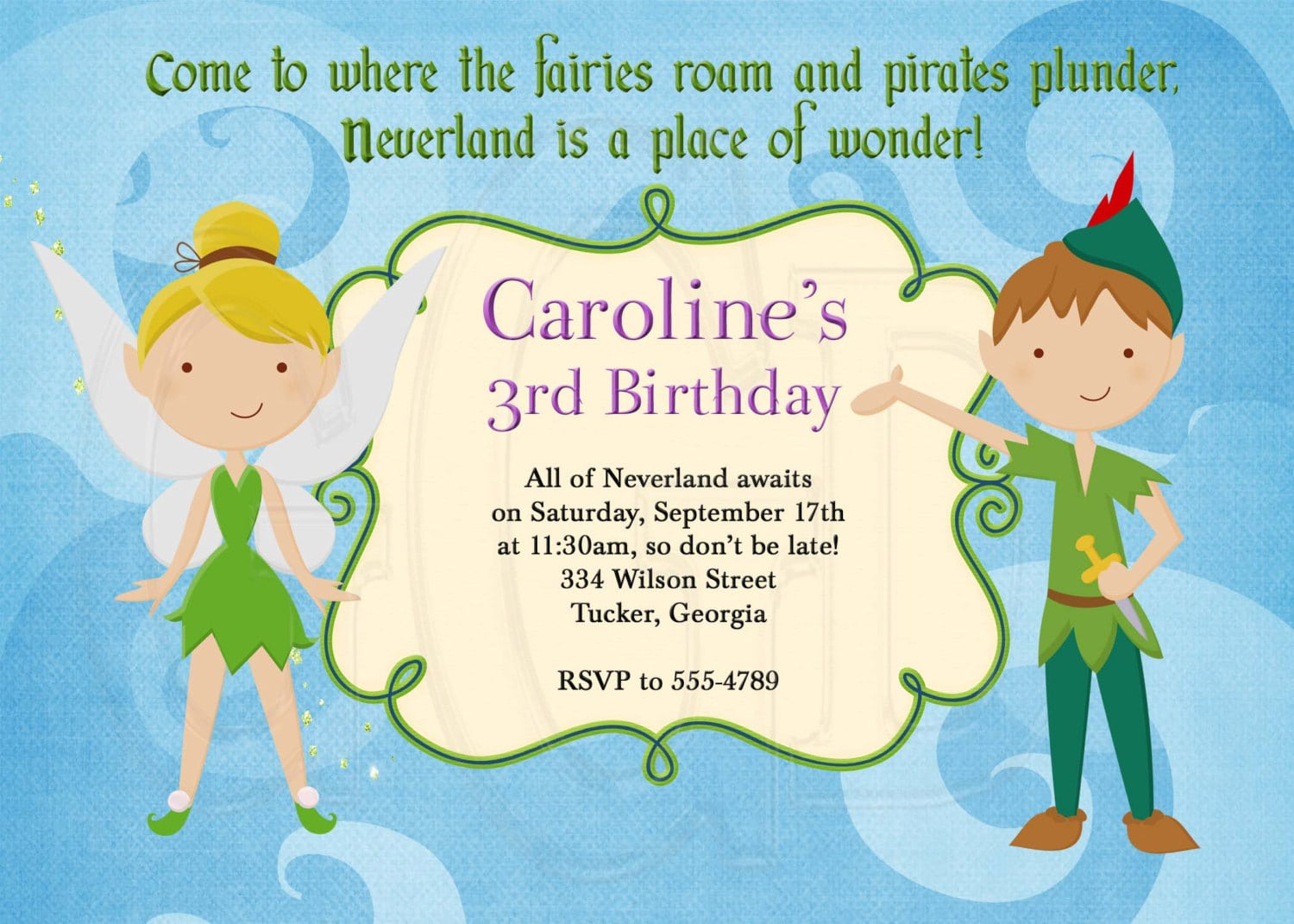 Peter Pan And Tinkerbell Inspired Birthday Invitation