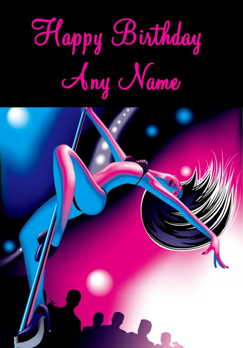 Pink And Blue Pole Dancing Birthday Card