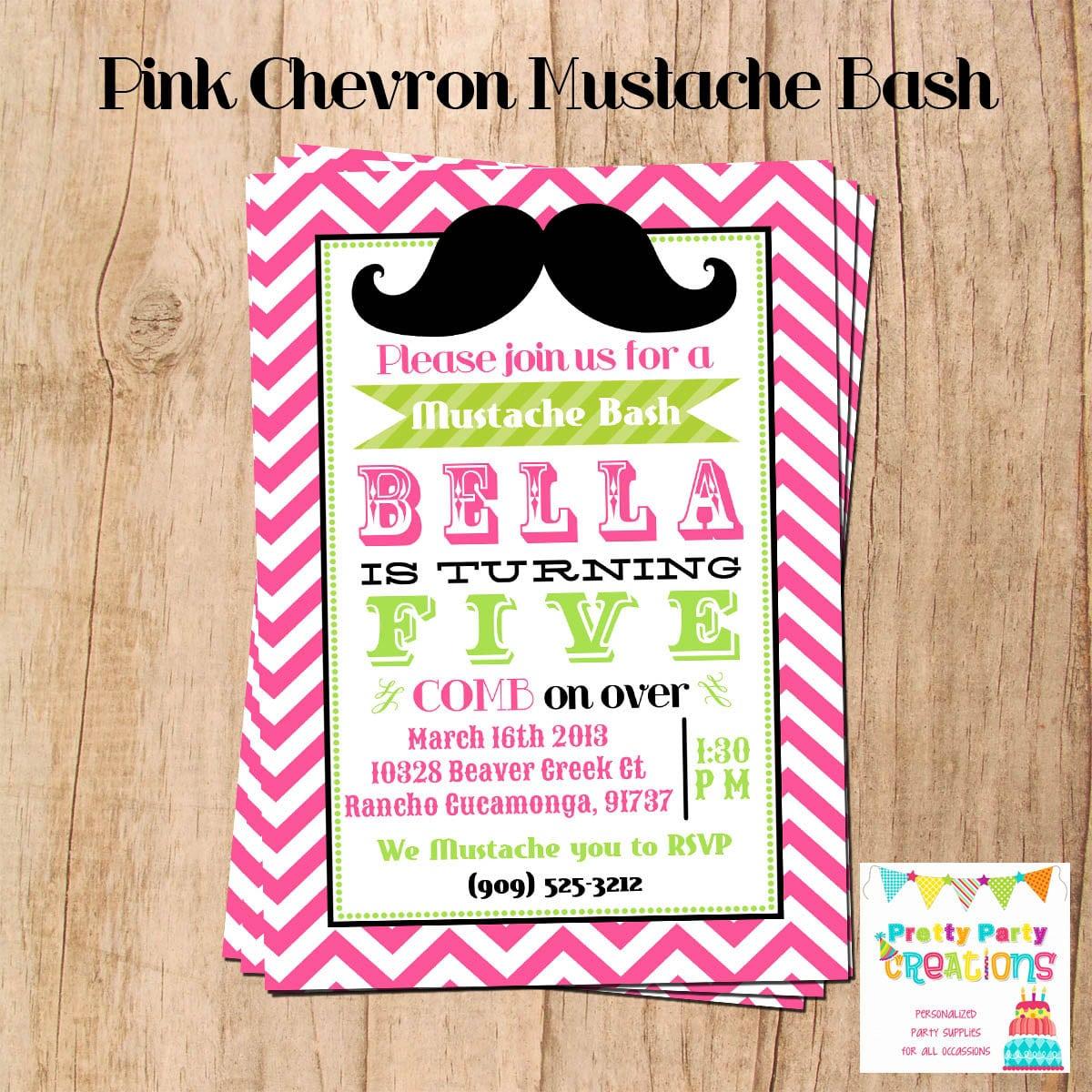 Pink Chevron Mustache Bash Invitation You Print