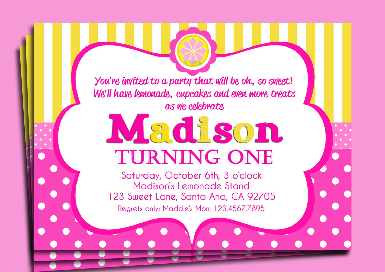 pink lemonade party invitations