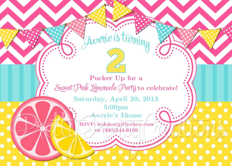 Pink Lemonade Party Invitation You Print Original Treasury