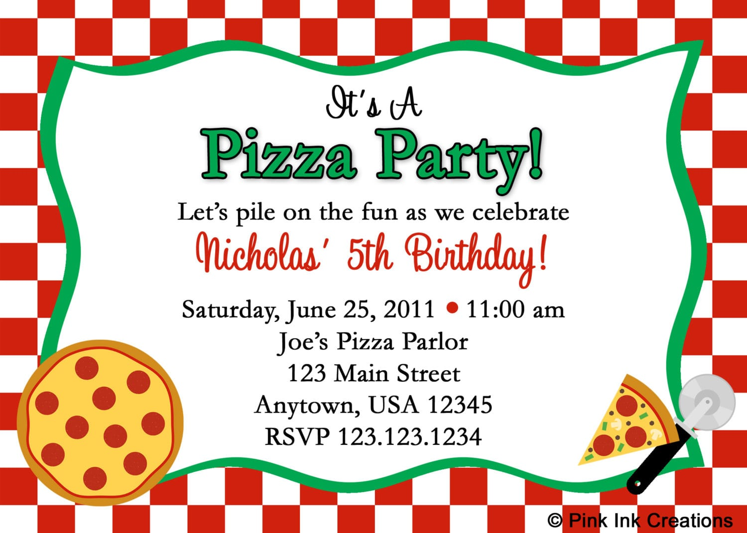 Pizza Birthday Party Invitations Beautiful With A Flash Light Free