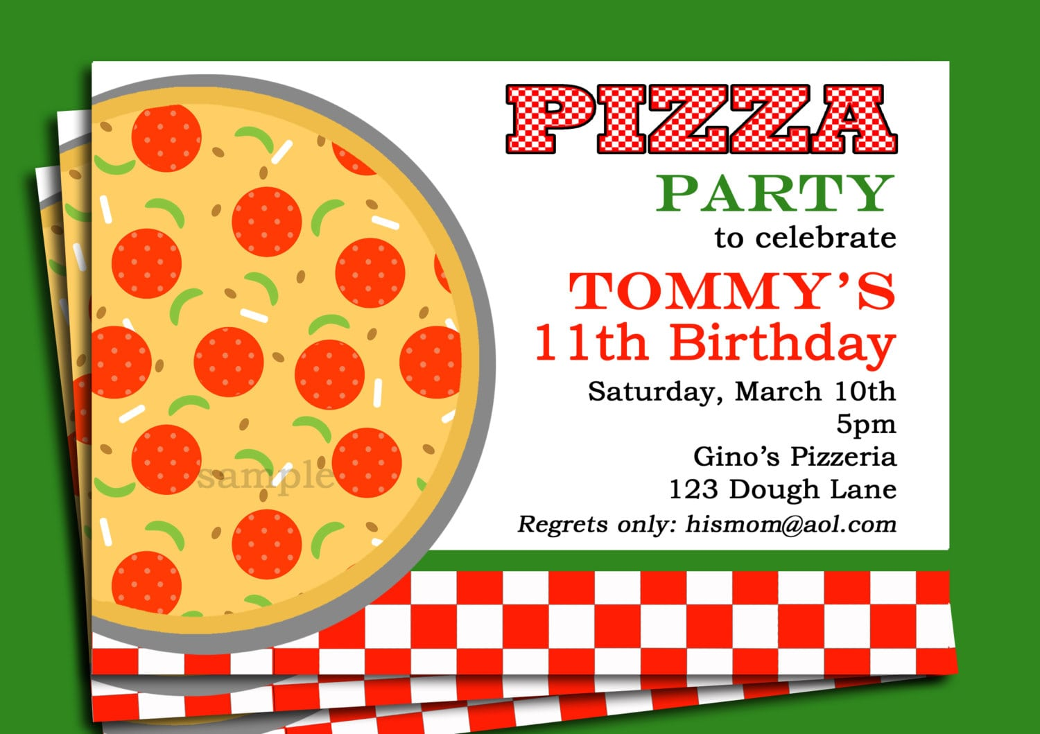 Pizza Party Invitation Printable Or Printed With Free Shipping