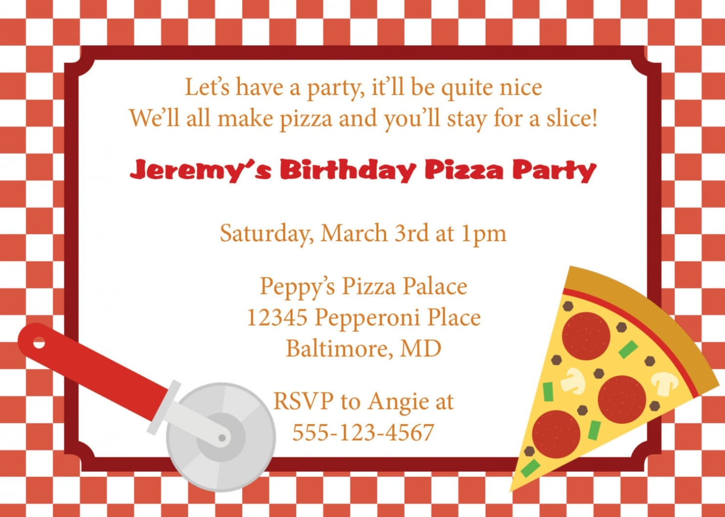 Pizza Party Invitations Pizza Party Invitations In Support Of