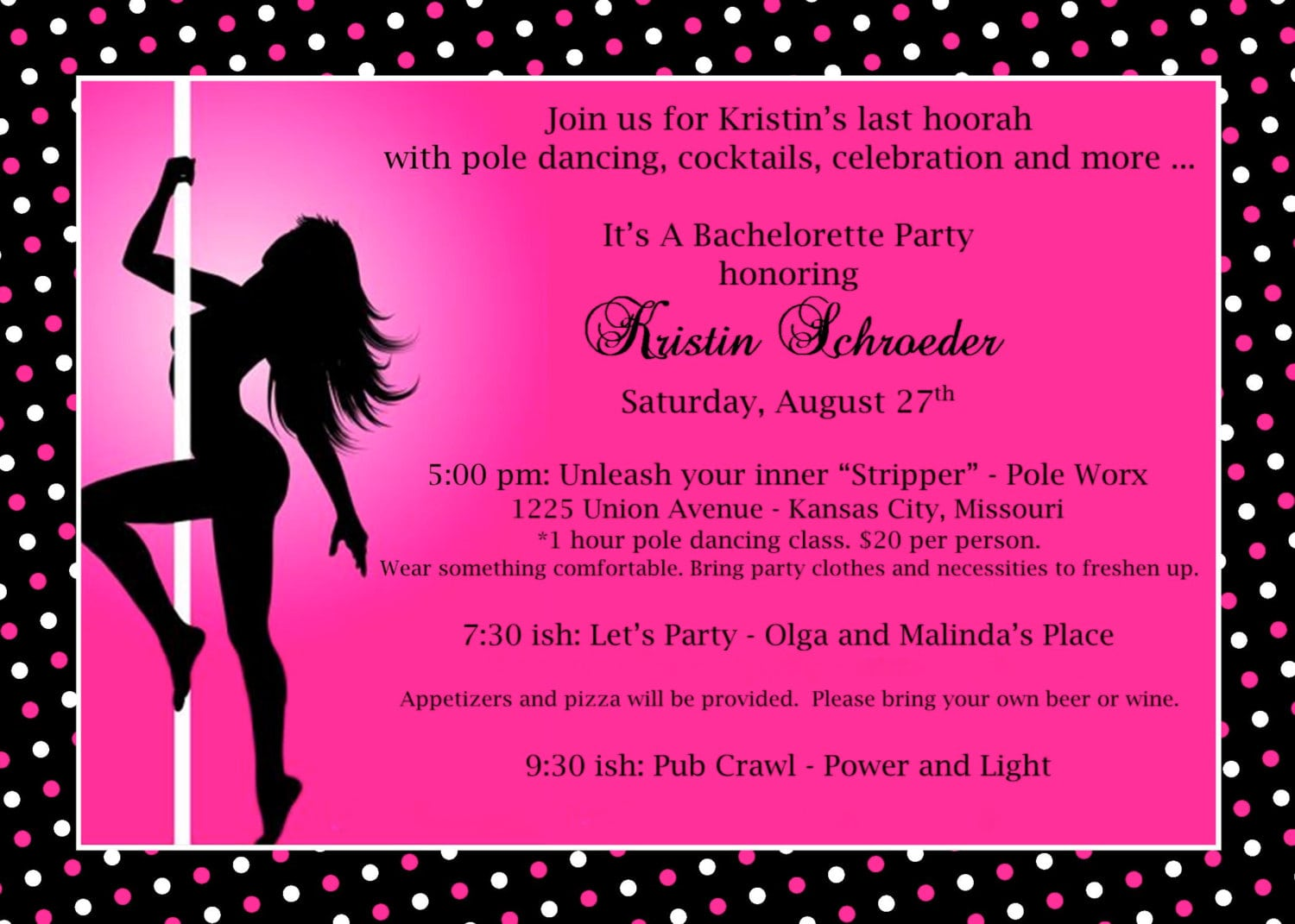 Pole Party Invitations