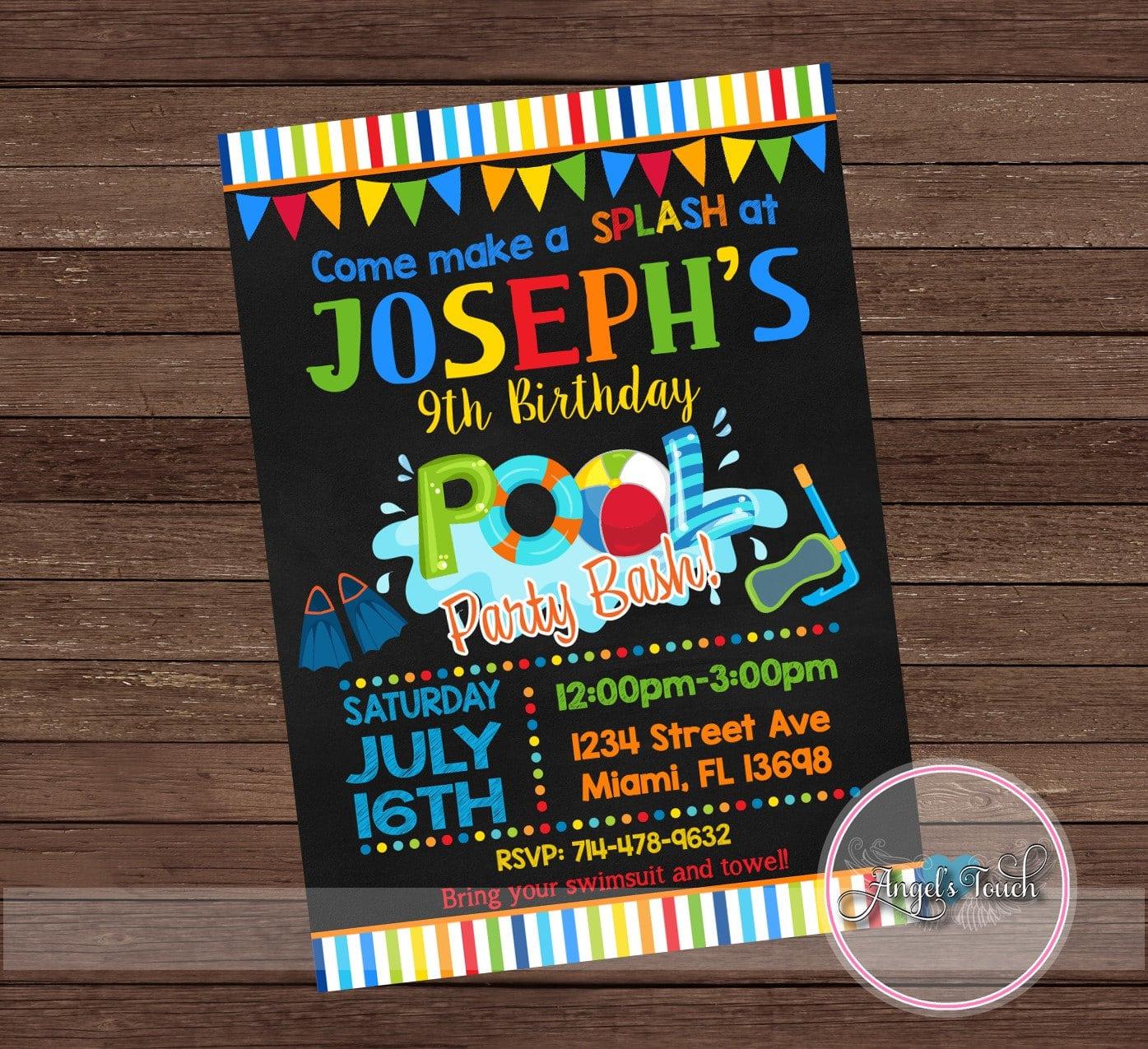 Pool Party Invitation Pool Birthday Invitation Pool Birthday