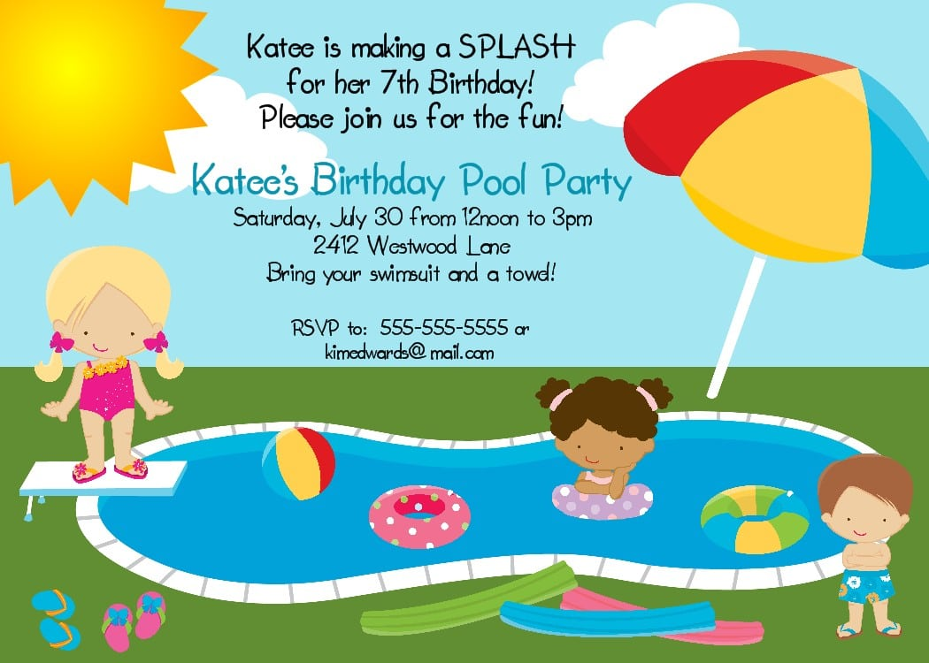Pool Party Invitation Wording Pool Party Invitation Wording With