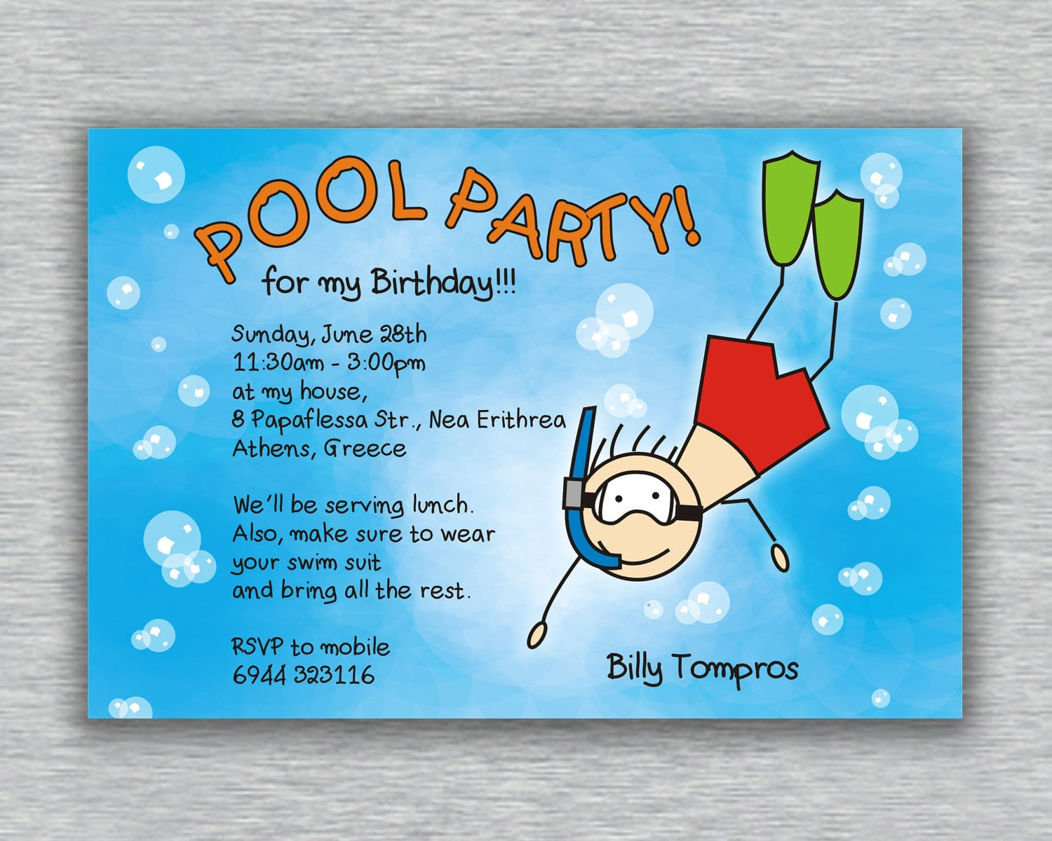 Pool Party Invitations Templates For Kids
