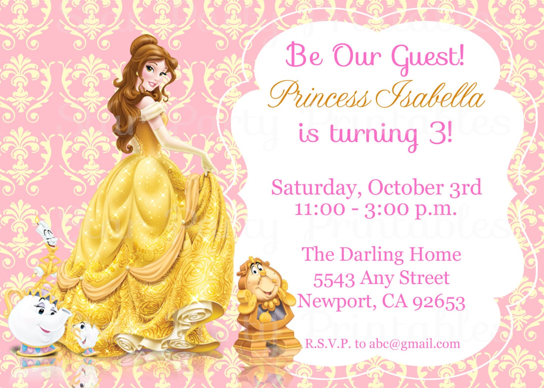 Princess Belle Beauty & The Beast Invitation Kid's