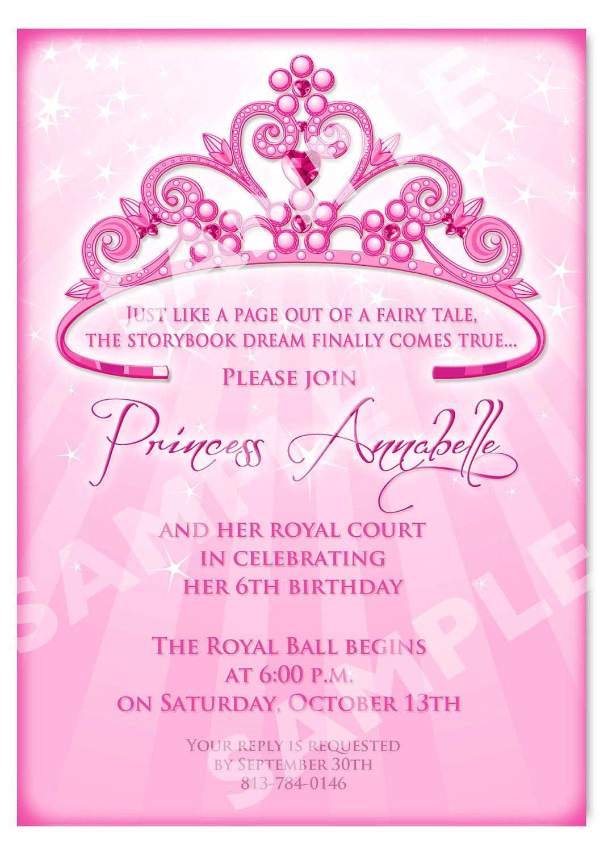 Princess Birthday Party Invitations Princess Birthday Party