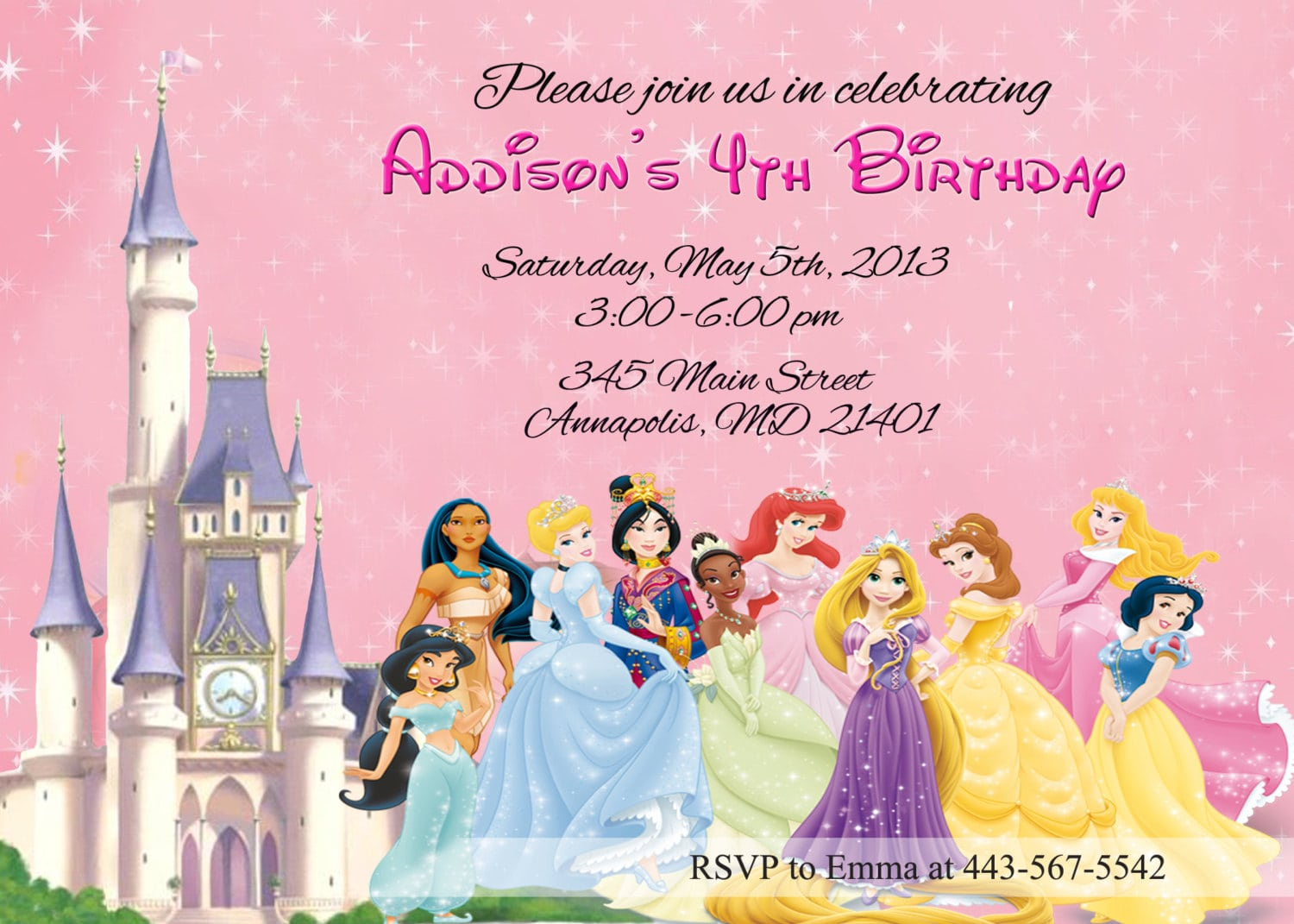 Princess Party Invitations Free