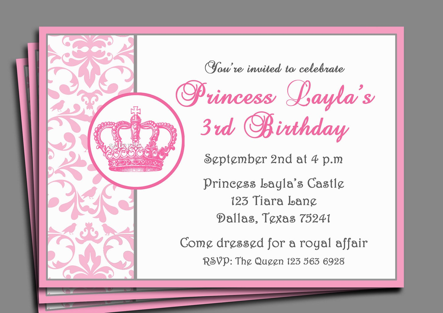 Princess Party Invitation Printable Or Printed With Free