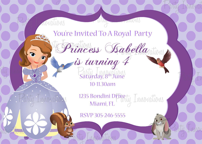 Princess Party Invitations Princess Sofia Party Invitations