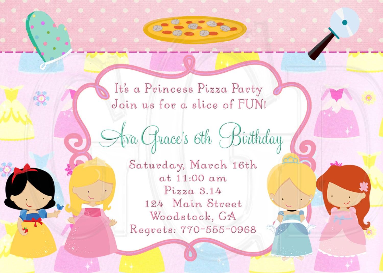 Princess Pizza Party Invitation Digital File