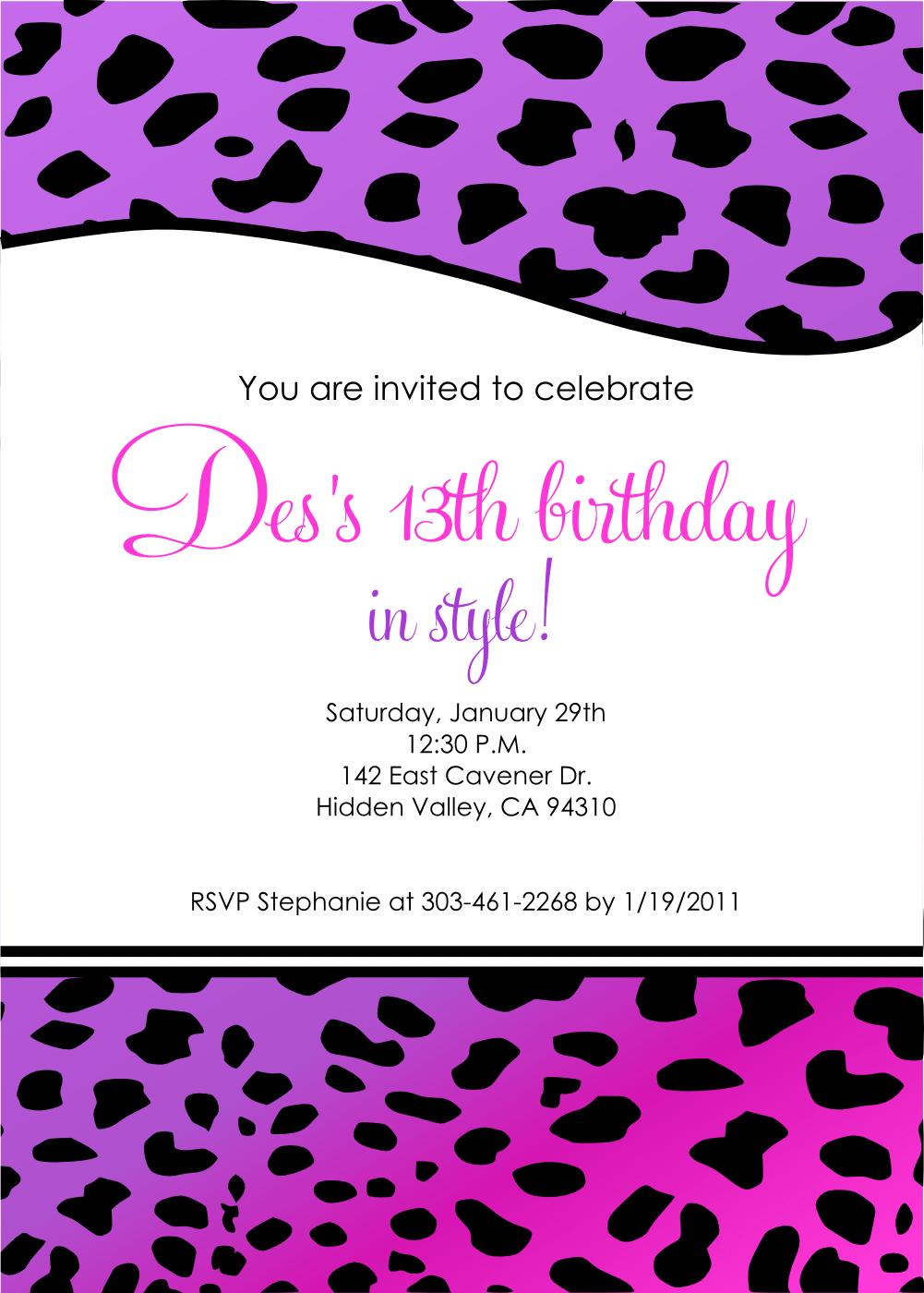 Printable 13th Birthday Invitations For Girls