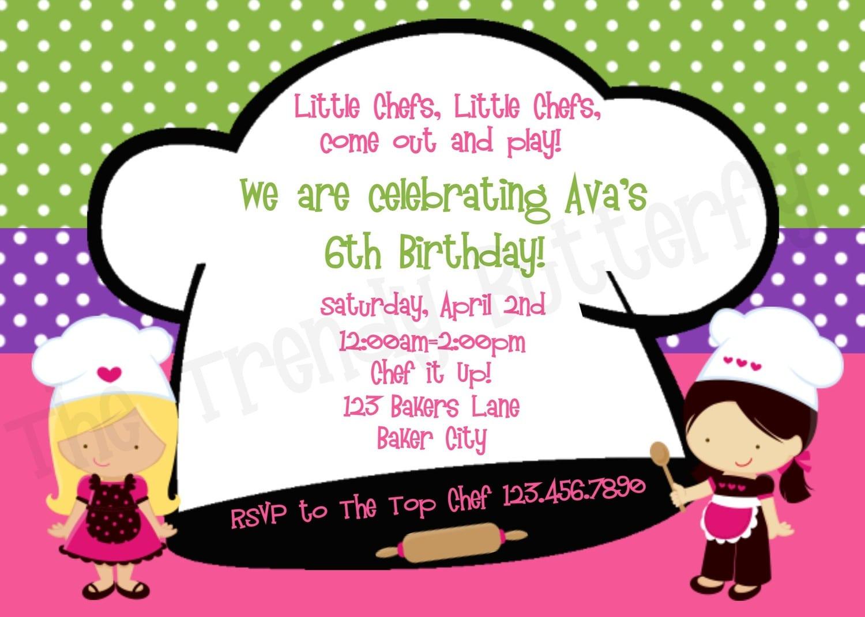 Printable Birthday Invitations, Cooking Birthday Party,