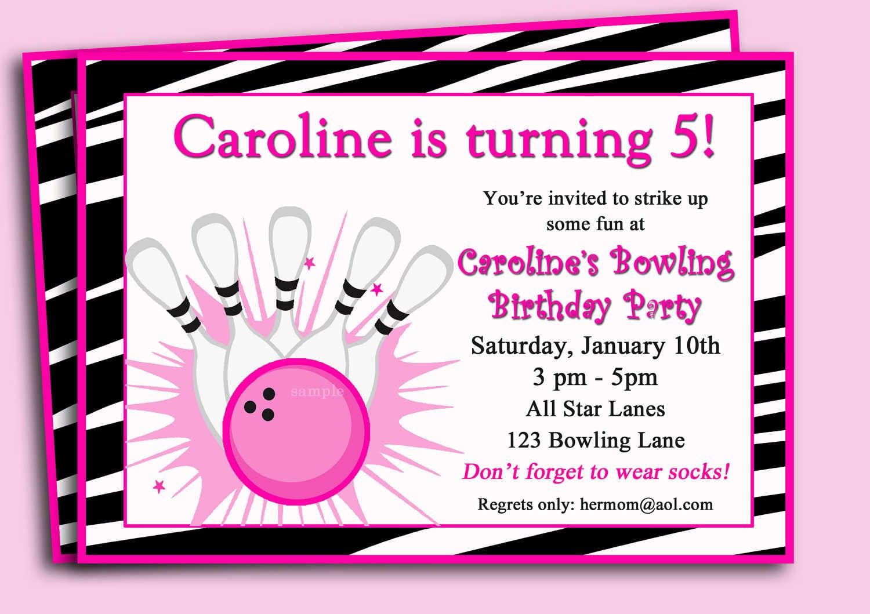 Printable Bowling Birthday Party Invitations — Criolla Brithday