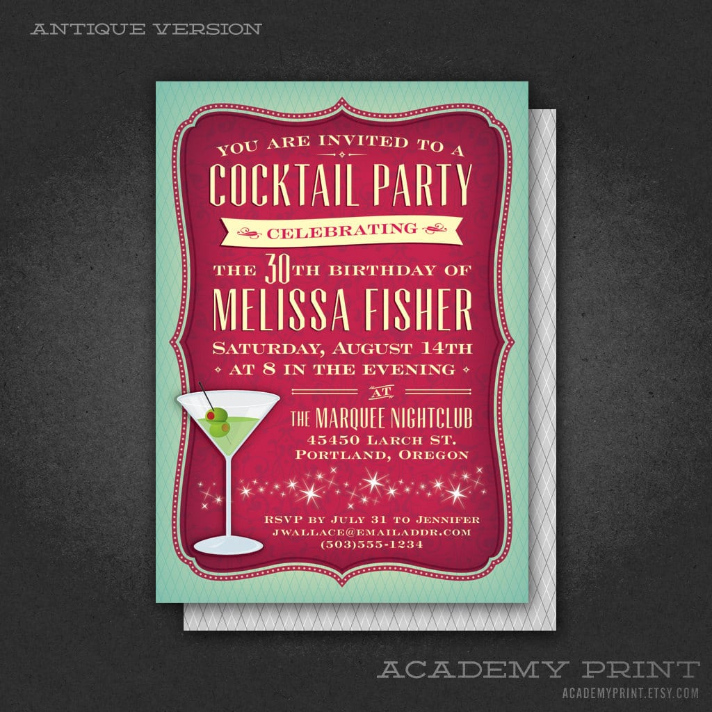 Printable Cocktail Party Birthday Invitation With Martini