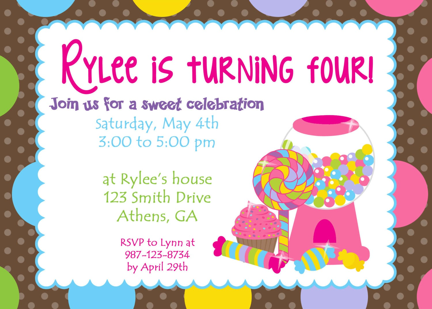 Printable Colorful Candy Land Party Invitation  Sweet Treats