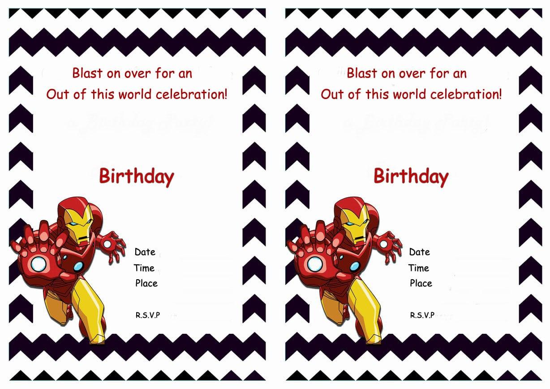 Printable Iron Man Birthday Invitations Cards