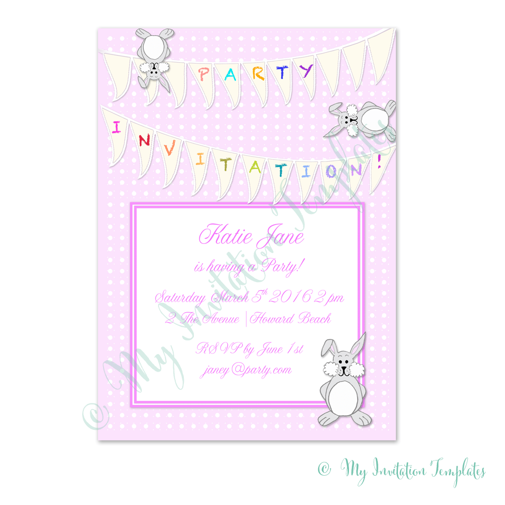 Printable Party Invitation Template – Pink Bunny