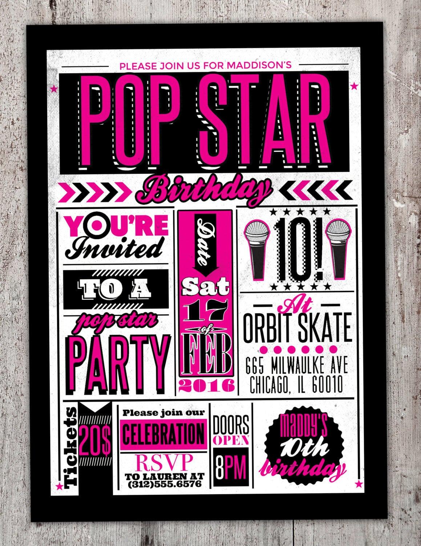 Rock Star Gig Poster Theme Birthday Invitation, Boy Birthday