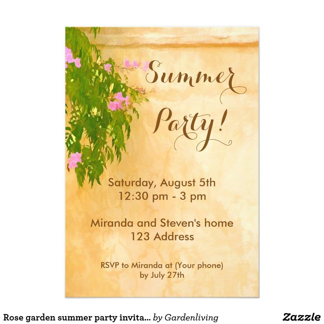 Rose Garden Summer Party Invitation