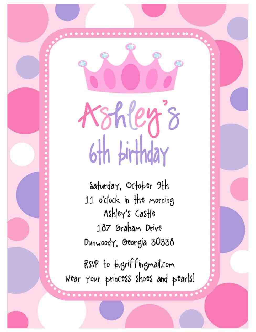 Royal Birthday Party Invitation Wording
