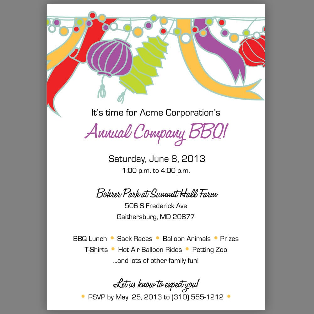 Sample Party Invites