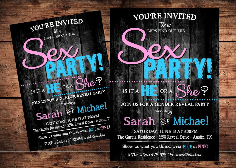 Sex Party Gender Reveal Invitation Digital File