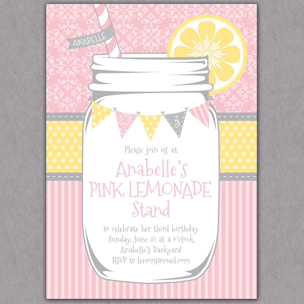 Shabby Chic Mason Jar Lemonade Party Invitation Printable