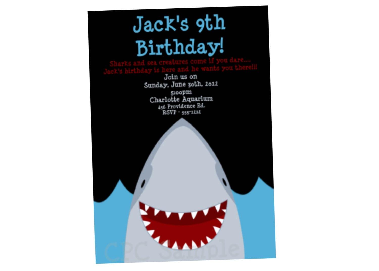 Shark Party Invitations