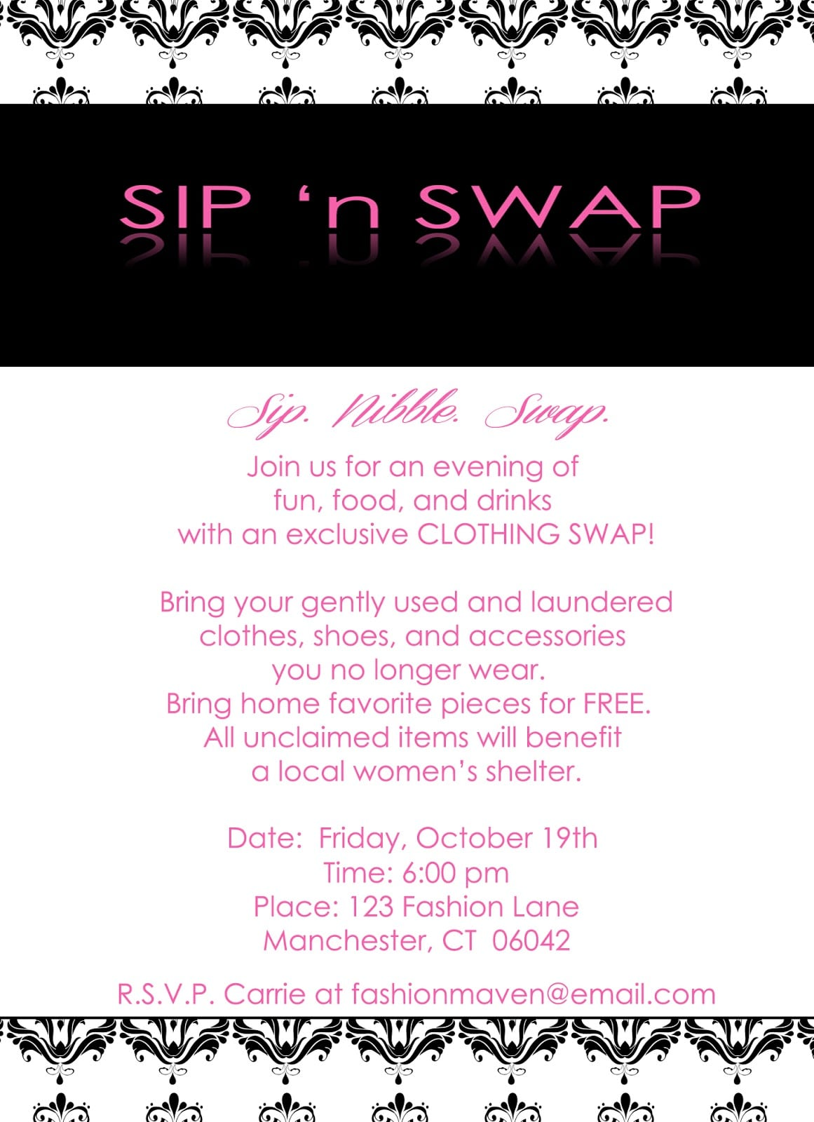 Sip 'n Swap Party Collection  Invitation