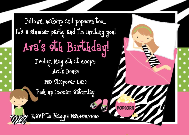 Sleepover Birthday Party Invitations Sleepover Birthday Party