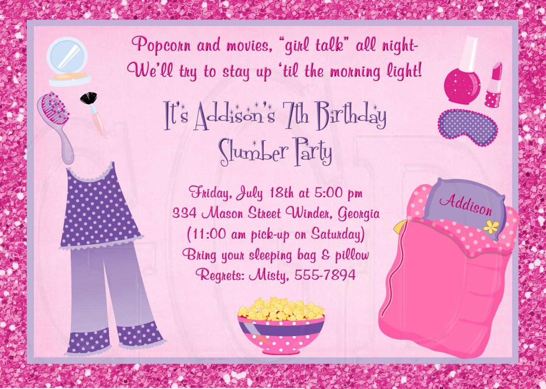 Slumber Party Invitation Pajama Party Digital File